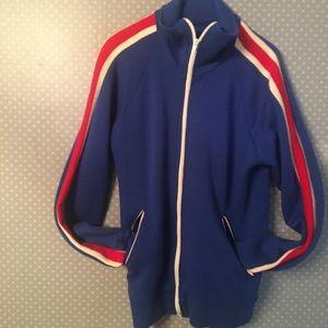 VTG Blue Jacket Fleece Full Zip Sporty Striped Red